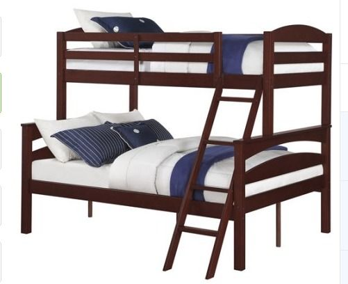 Kids Wood Bunk Beds Brown Twin Full Convertible Bedroom Furniture Boys Girl New  #DorelLiving #Transitional