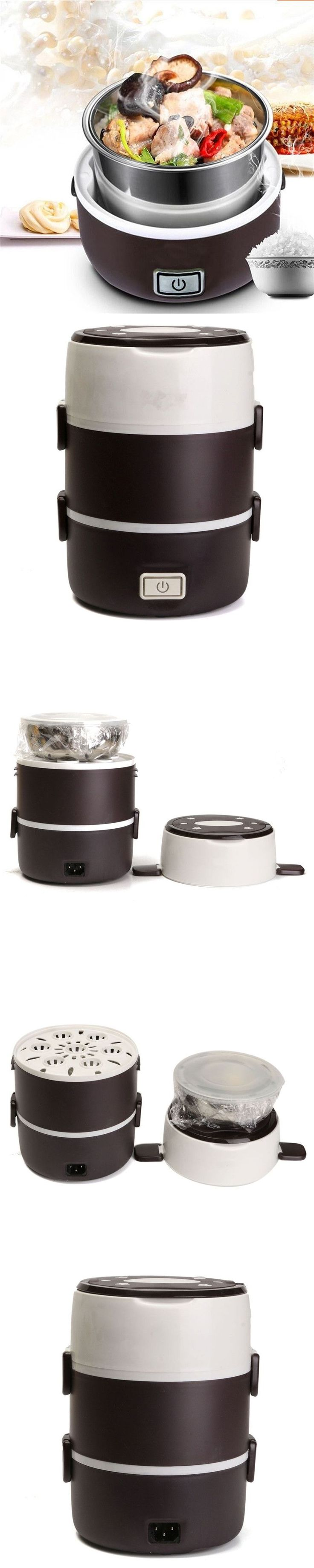 New Arrival Electric 2L Portable Lunch Box Mini Rice Cooker Steamer 3 Layer Stainless Steel #NewHomeAppliances