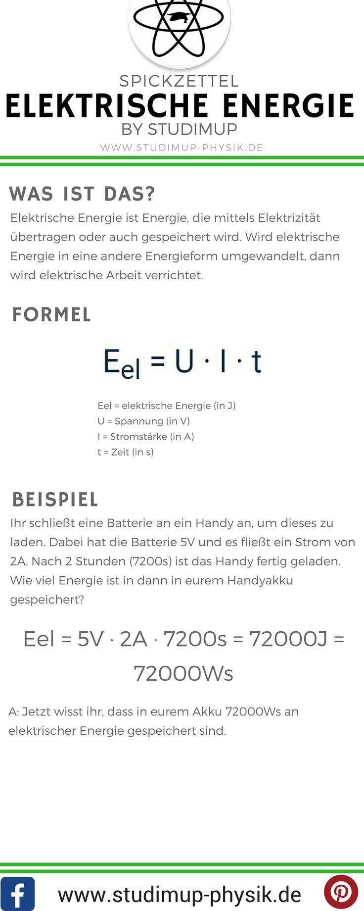 Physik Spickzettel zur elektrischen Energie. Mit Formel und Beispielaufgabe. Einfach lernen mit Studimup.