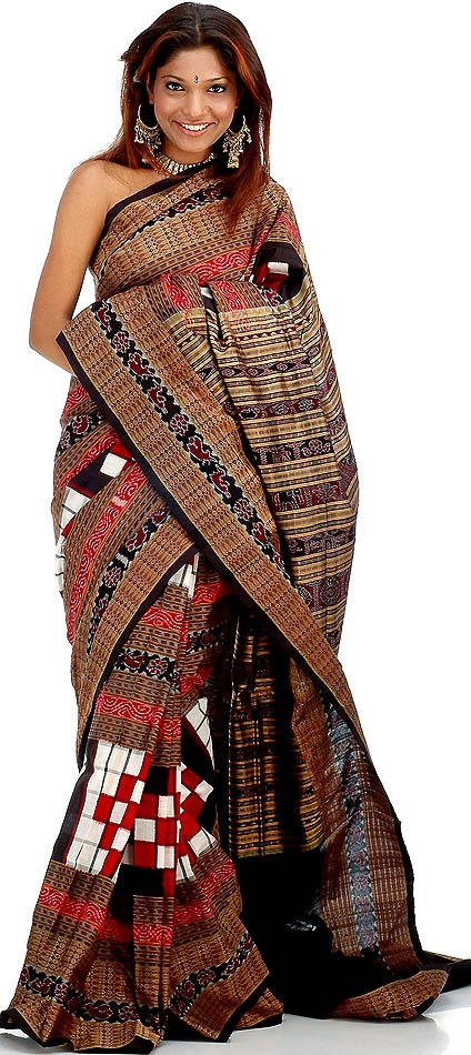A traditional Ikat sari, the patterns are all handwoven