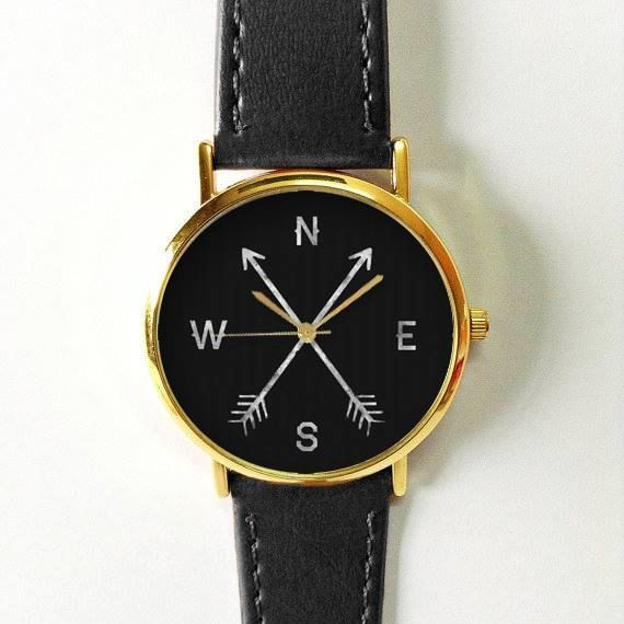 Cardinal Directions Watch, Compass Watch, Women Watches, Men's Watch,  Leather Watch, Vintage Style, Gold Silver Watch, Rose Gold Watch - cheap womens watches online, online shopping watches for womens, womens fashion watches cheap