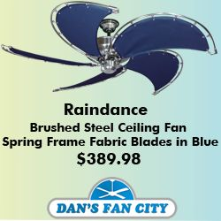 Raindance Brushed Steel Ceiling Fan W 52 Spring Frame Fabric Blades In Blue