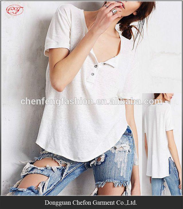China wholesale henley pattern cotton spandex t-shirt cheap t shirt - jeans