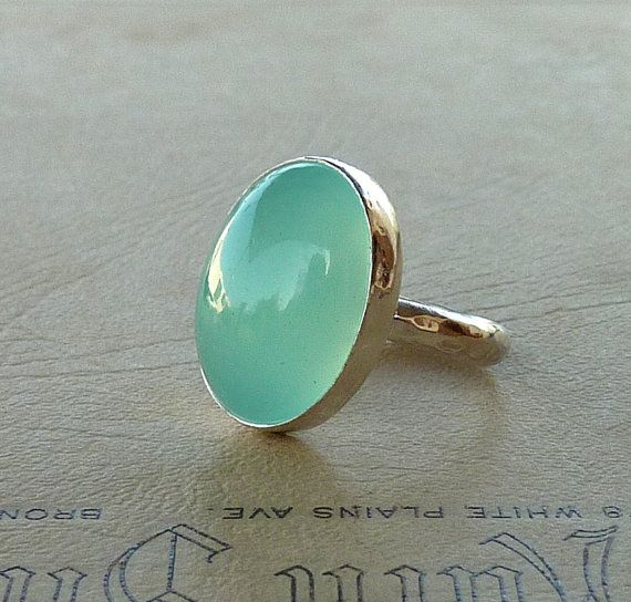 Cocktail ring,  Aqua Chalcedony ring,  Oval Aqua Chalcedony Gemstone ring, statement ring