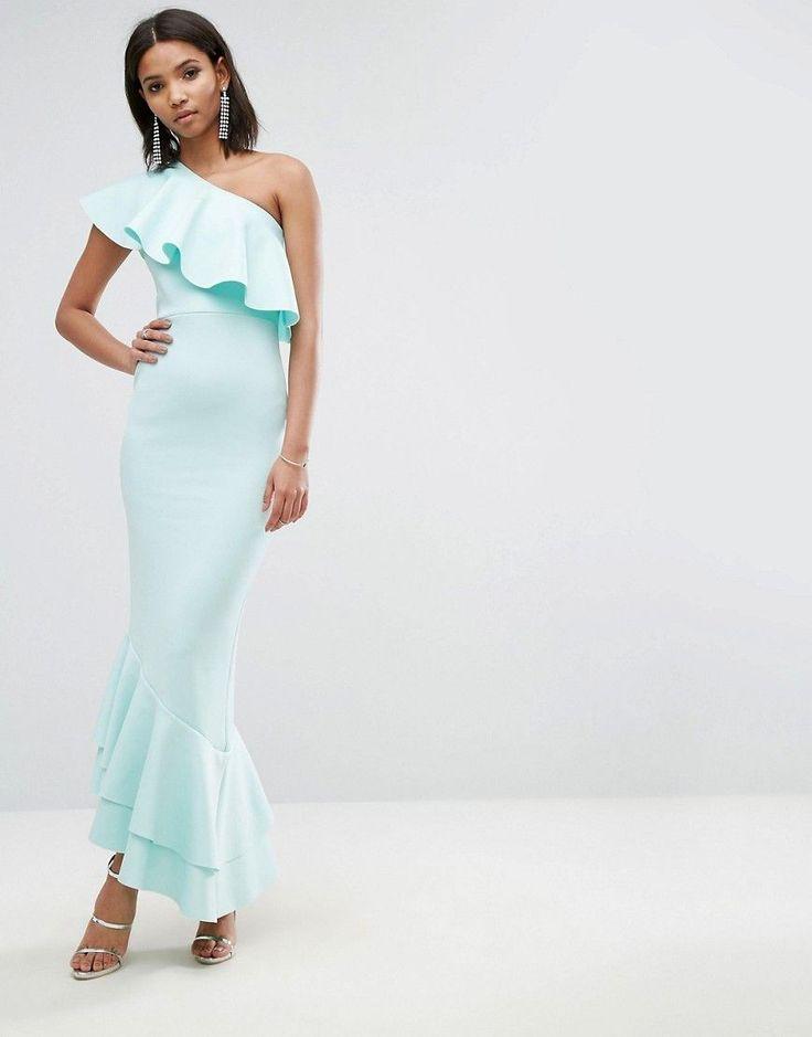 ASOS One Shoulder Ruffle Top Asymmetric Hem Maxi Dress - Blue