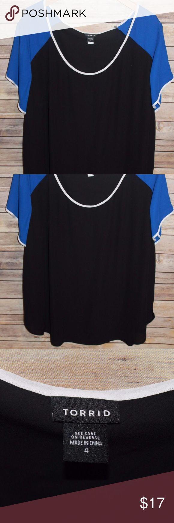 Torrid Chiffon Semi Sheer Blouse Blue 4 HW729 Torrid   Plus Size 4 Semi Sheer Chiffon Blouse  Color: Black with Blue and White  Short Sleeve     100% Polyester torrid Tops Blouses