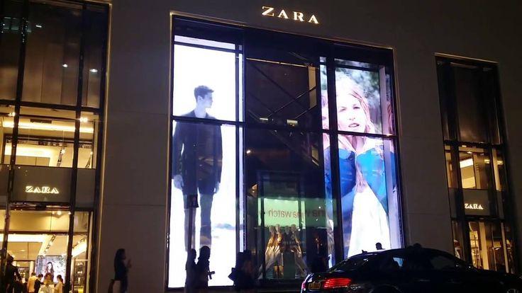 X Glass transparent led Display installed for ZARA HongKong