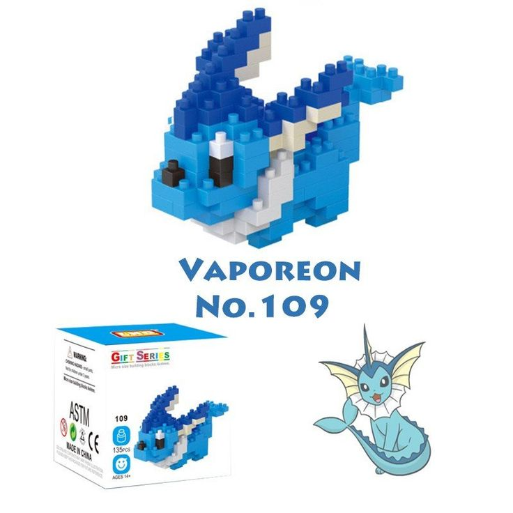 Pocket Pokemon Vaporeon Figures from Building Blocks
