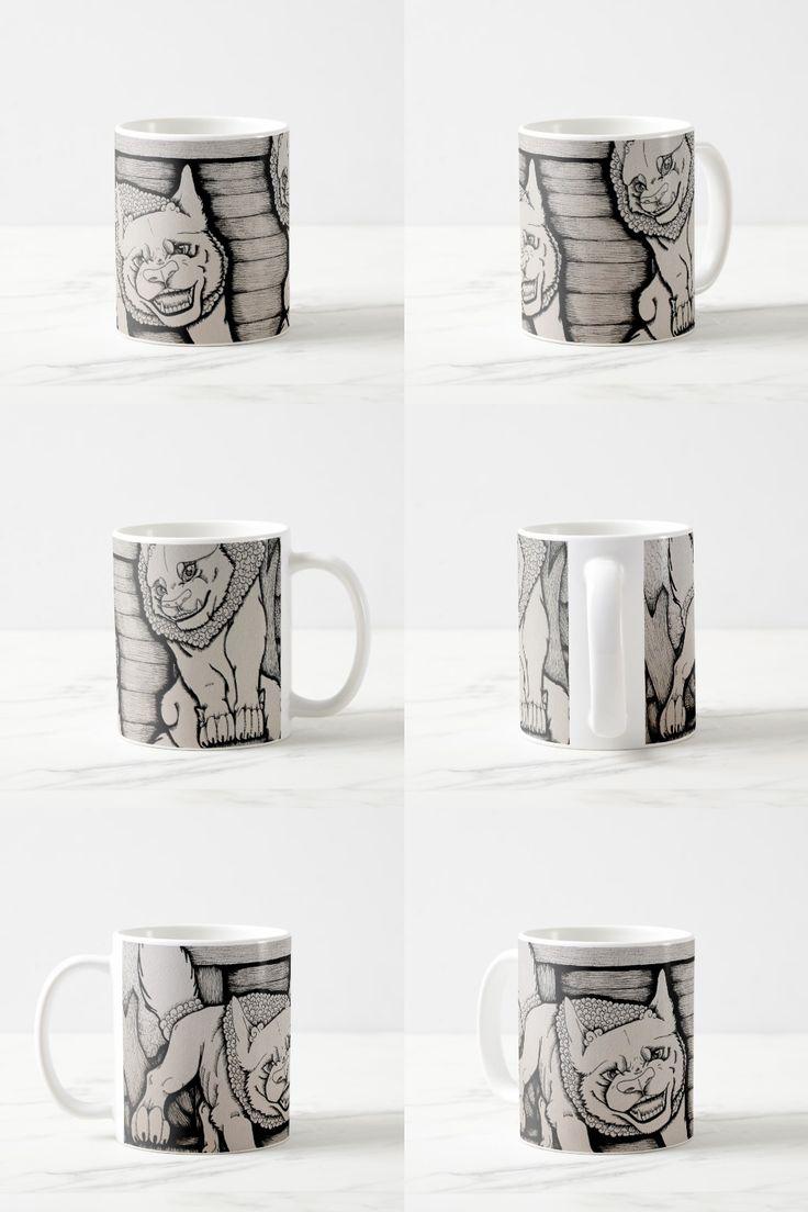 """The Guardians of the Shrine"" Black and white illustrated shisa Coffee Mug"