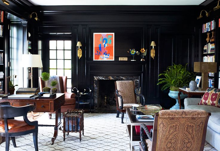 The Best Style Lessons 12 Top Designers Learned From Mom // Mother's Day, Bunny Williams, library by @Bunny Williams Home: Office, Libraries, Living Rooms, Black Walls, Bunny Williams, Interiors, Decorating Ideas, Dark Walls, Bunnies