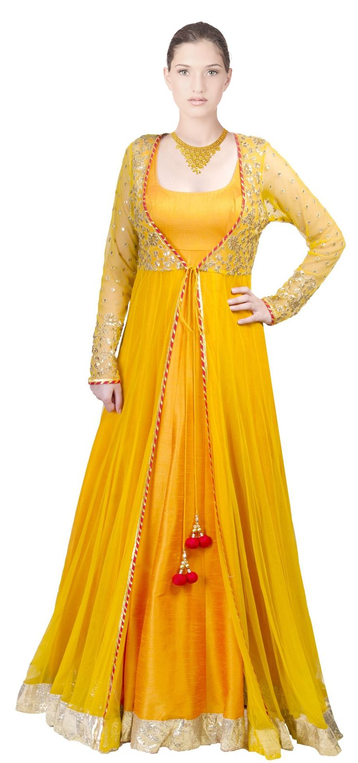 #AnarkaliSuits Mango Yellow Anarkali with sheer jacket at Shopittoday.net #Ladiessuits