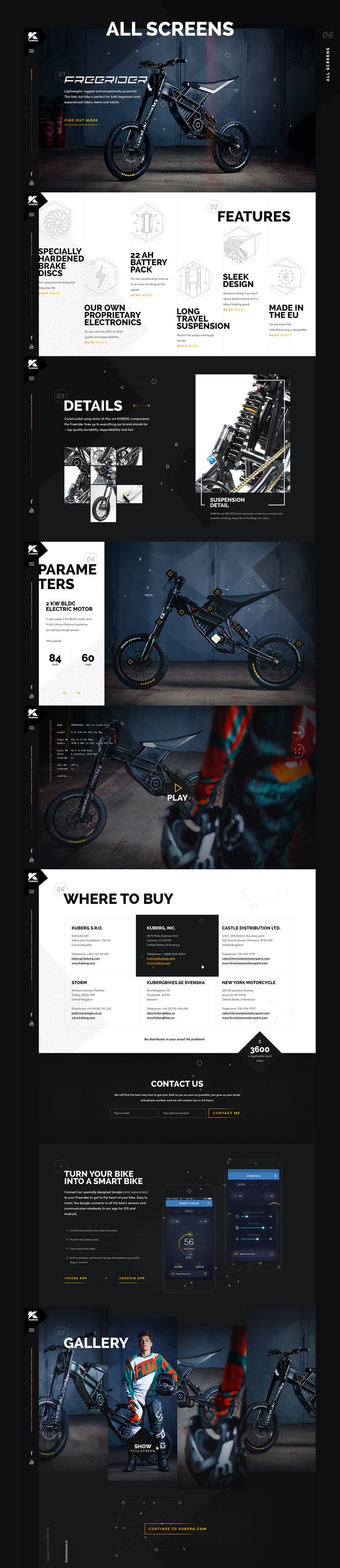 Kuberg, manufacturer of electric motorcycles, released their brand new model called FREE RIDER and I was asked to design a microsite showing this awesome and fun bike. It's a simple one-page website with few sections. I've used bold and heavy typography i…