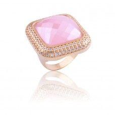 Anel rosa quartz - anel banhado à ouro 18k em pedra quartzo rosa - Exclusividade Dezeus Joais