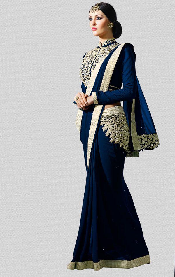 Adorable Navy Blue Latest Designer Saree