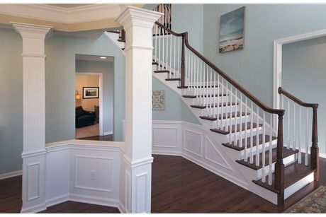 Gleaming White Trim Contrasts With Dark Floors And Pale