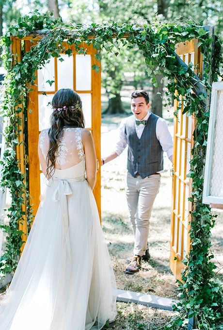 Could this groom look any happier to see his bride?! We don't think so! | @maria_lamb | Brides.com