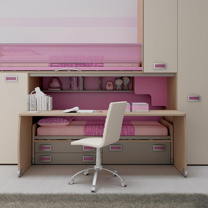"""#Arredamento #Cameretta Moretti Compact: Collezione 2012 """"Team"""" > Kids – Soluzione a #Soppalco >> ks20 #letti #armadio #scrivania http://www.moretticompact.it/kids.htm"""