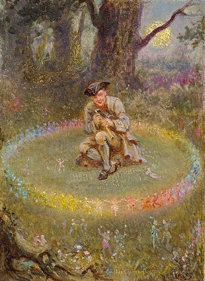 William Holmes Sullivan · The Fairy Ring; The Enchanted Piper · 1880 · Oil on board · 9.00 x 12.50 cm · From the Leicester Galleries