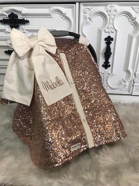 Rose Gold And Cream Car Seat Canopy Carseat Cover Carseat