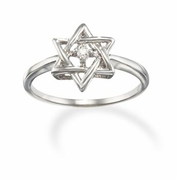 14k White Gold Diamond Promise Ring with a Jewish Star