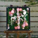 結婚式のウェルカムボードに初夏を木枠に詰め込んだ、和ボード木枠初夏タイプです。