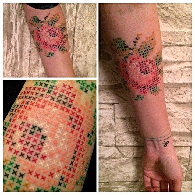 Unique Tattoos Created in the Style of Cross-Stitch Embroidery - My Modern Met