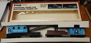 OLD TYCO 865 OPERATING CRANE CAR W/BOOM TENDER SET USED IN BOX HO SCALE LQQK | eBay