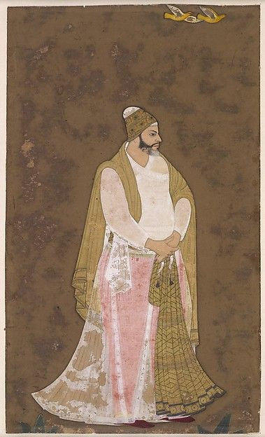 """Stout Courtier Artist: Attributed to the """"Bodleian painter"""" Object Name: Album leaf, illustrated Date: ca. 1620 Geography: India, Deccan, Bijapur Culture: Islamic Medium: Ink, opaque watercolor, and gold on paper Dimensions: Image: 6 11/16 × 3 15/16 in. (17 × 10 cm) Mount: 22 × 16 in. (55.9 × 40.6 cm) Frame: 23 11/16 × 17 11/16 × 7/8 in. (60.1 × 44.9 × 2.2 cm) Classification: Codices Credit Line: Courtesy of the Trustees of the British Museum"""