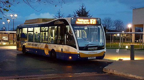 Fleet No: N/A Reg Plate: YJ11 EJL Vehicle Type: Optare Versa Hybrid Route: NFUM Tiddington Private Charter Location: NFU Mutual Head Office, Tiddington, Stratford Upon Avon