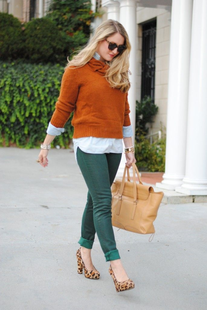 Orange sweater, white blouse, green skinnies, leopard