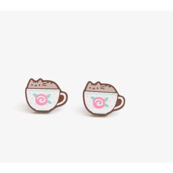 Teacup Pusheen stud earrings (13 CAD) ❤ liked on Polyvore featuring jewelry, earrings, cat, cat jewelry, stud earrings, cat stud earrings and cat earrings