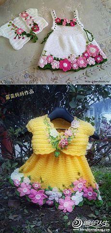 Очаровательное детское платье *Весна* крючком +комплекты с болеро