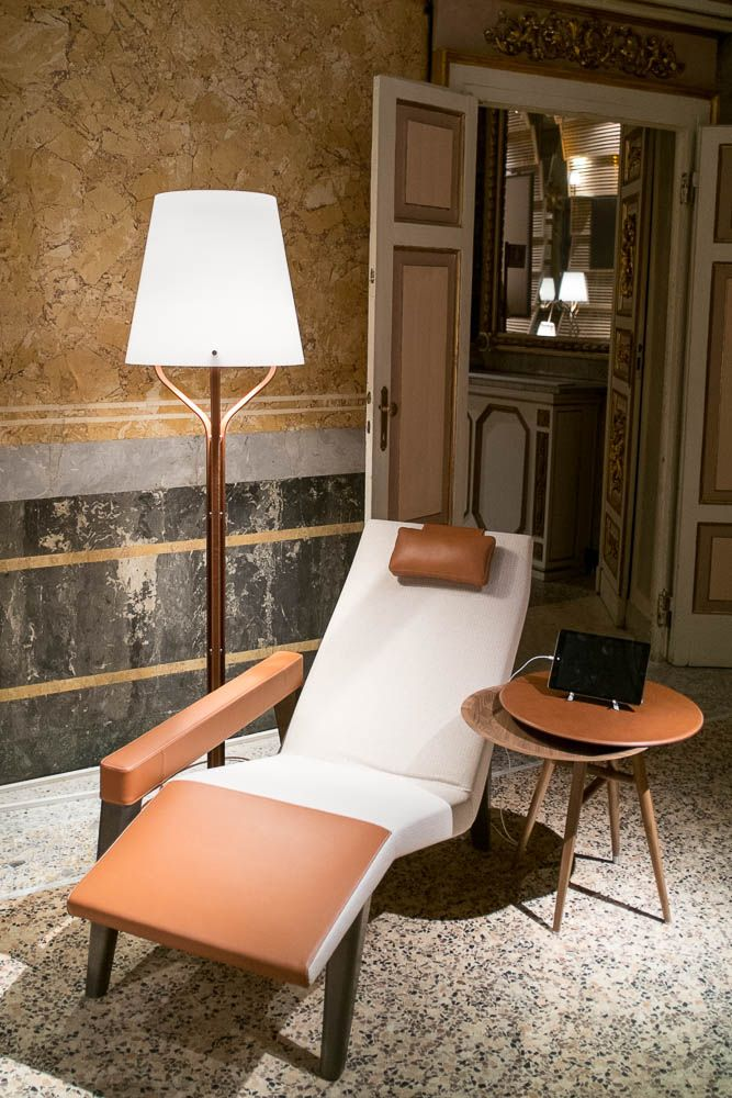 Hermès Maison Leather and glass floor light, table and lounge chair | Collaboration with Viabizzuno Milan Design Week 2014.