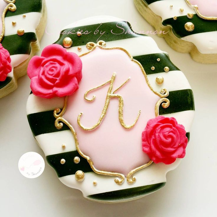 A closer view of the initial cookie for the baby... - Cookies by Shannon
