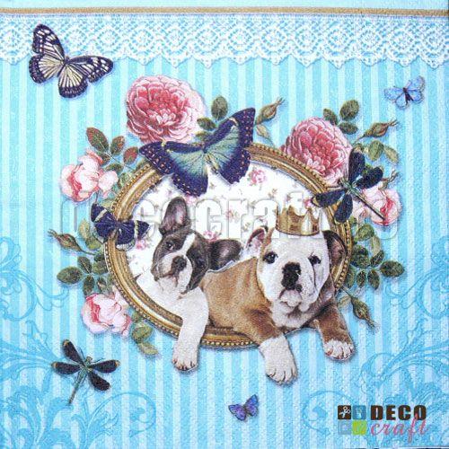 Servetele cu animale : Servetele - Royal Dogs - 33x33cm, 4 buc