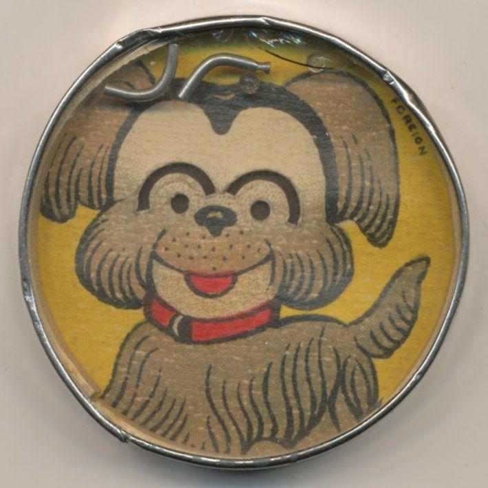 Hund mit Augenbrauen, Metall, Glas, Rückseite Spiegel, 55mm