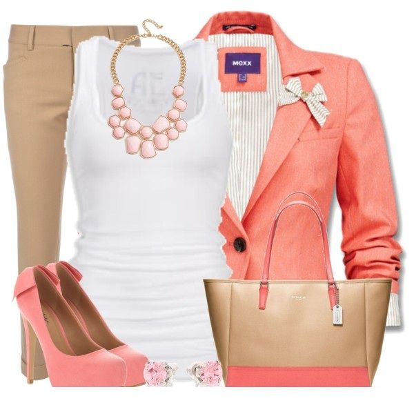 Stylish OutfitSummer Looks, Outfit Ideas, Clothing, Summer Work Outfit, Fall Outfit, Casual Looks, Teachers Outfit, Pink Blazers, White Tops