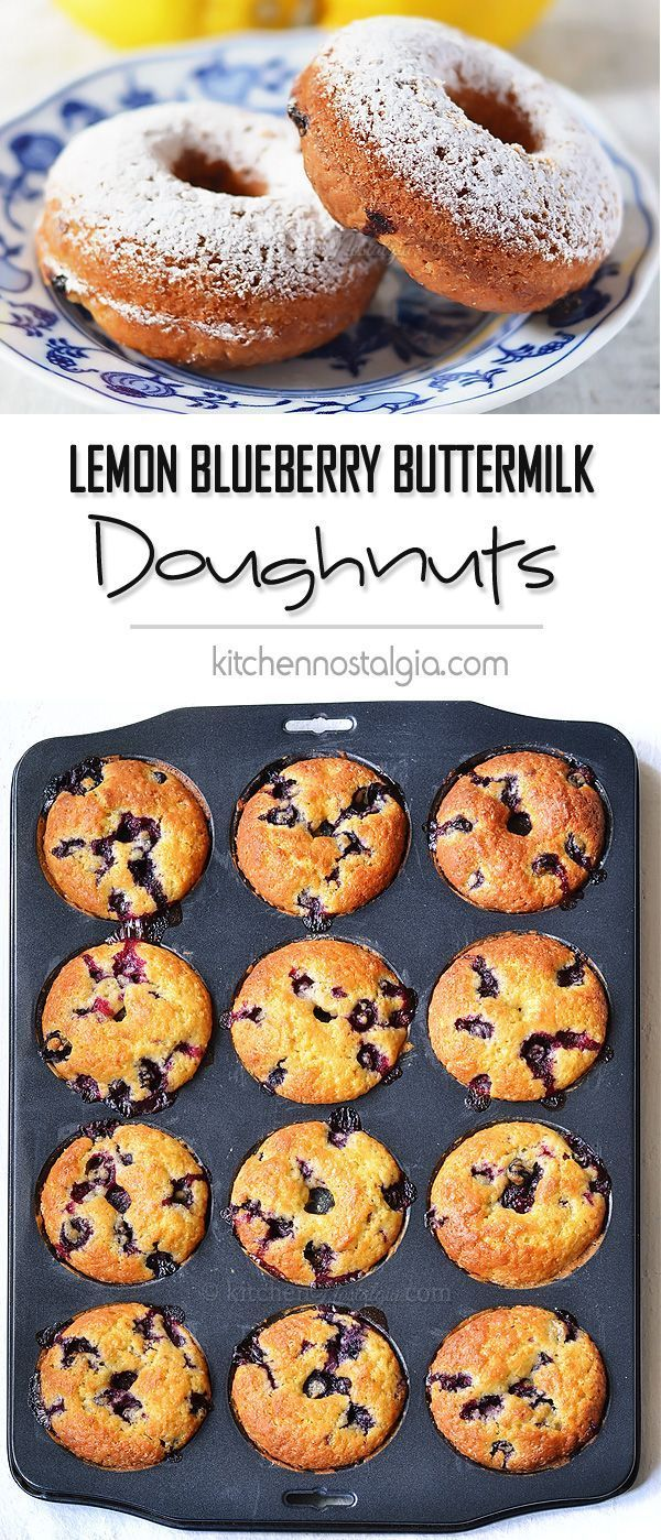 Lemon Buttermilk Blueberry Doughnuts - tender lemon buttermilk cake donuts full of juicy blueberries. Baked, not fried!