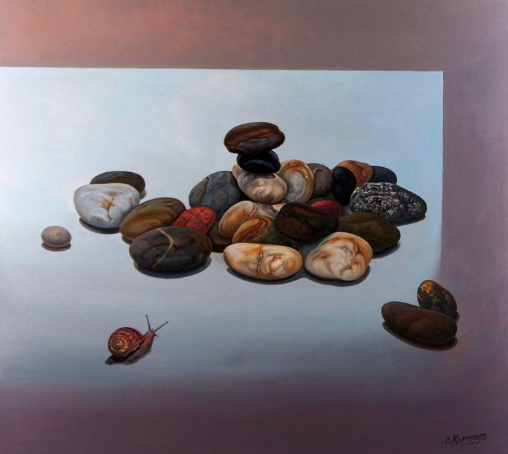 36x40 ORIGINAL ART | Large wall art | Snail stones Painting on Canvas | Oil NaturePainting | Large size painting | Original Artwork by OliviaArtGallery on Etsy