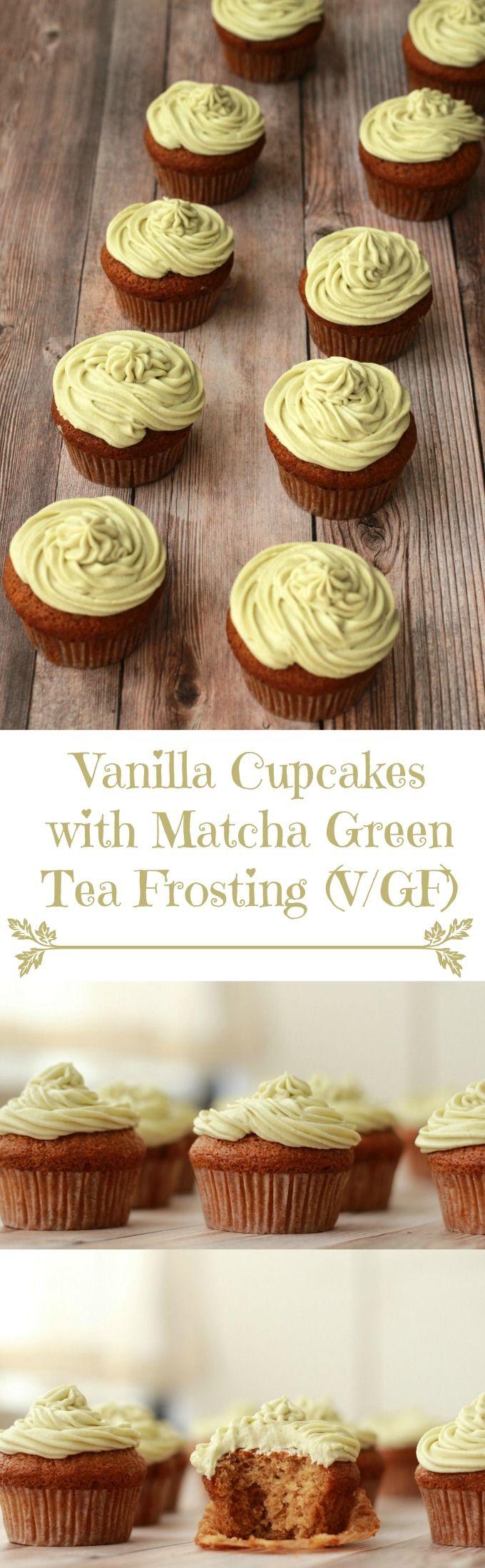 Gluten-Free & Vegan Vanilla Cupcakes with Matcha Green Tea Frosting