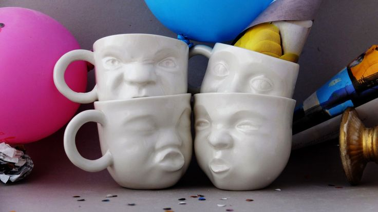 Tea cup set, coffee cup, ceramic mug set, porcelain mug, pottery mug set, face mug, funny coffee mug, modern tea set, wedding gift ideas by SinDstudio on Etsy https://www.etsy.com/au/listing/239330544/tea-cup-set-coffee-cup-ceramic-mug-set