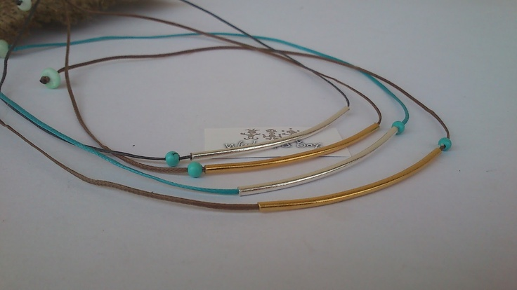 Tubes silver/gold plated necklaces with turquoise!