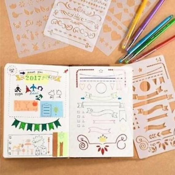 20pcs Bullet Journal Stencil Set Plastic Planner DIY Drawing Template Diary UK