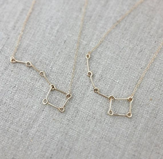Little Dipper Big Dipper Necklace 14K Gold, Mother Daughter Necklace, Big Sister Little Sister Necklace, Constellation Star Necklace