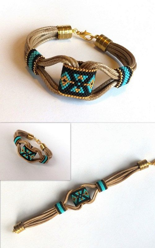 Peyote Bracelet Boho Bracelet Wrap Bracelet Leather by GULDENTAKI