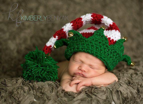 Freies Verschiffen nette Weihnachten Baby Hut Long Tail Elf Hut handgemachte Häkelarbeit Neugeborenen Fotografie Requisiten-kleine Glocke Dekoration(China (Mainland))