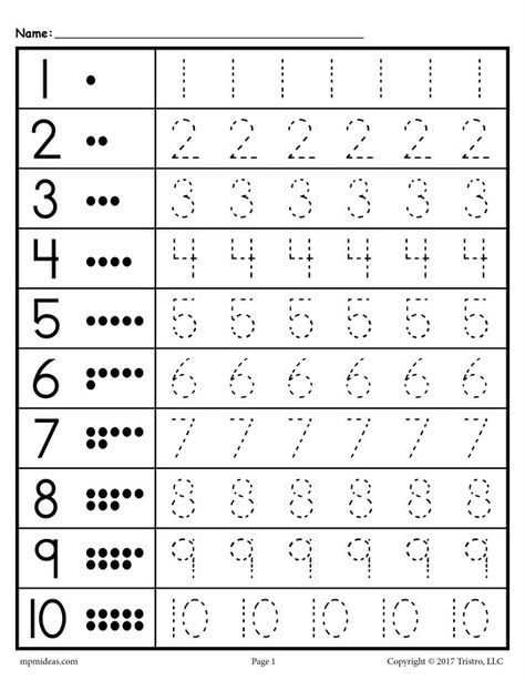 FREE Tracing Worksheets Numbers