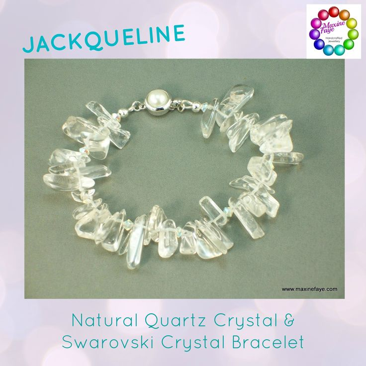 Gorgeous clear Quartz Crystal top drilled large Hawaiian chips are interspersed with 3mm clear AB Swarovski Crystal giving off flashes of colour.  This bracelet is approx 17.5cm long and is finished with an 11mm round, smooth edged rhodium-plated pewter and faux pearl box clasp. Silver-plated wire guardians and crimp covers give this design a professional finish.  https://www.maxinefaye.com.au/product-category/bracelets/