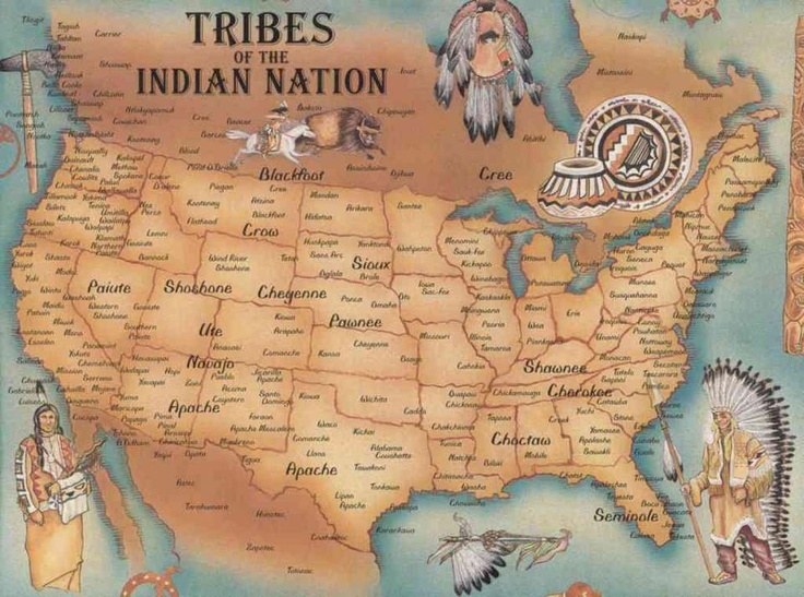 U S Map of location of Tribes American Indian Art and Lore
