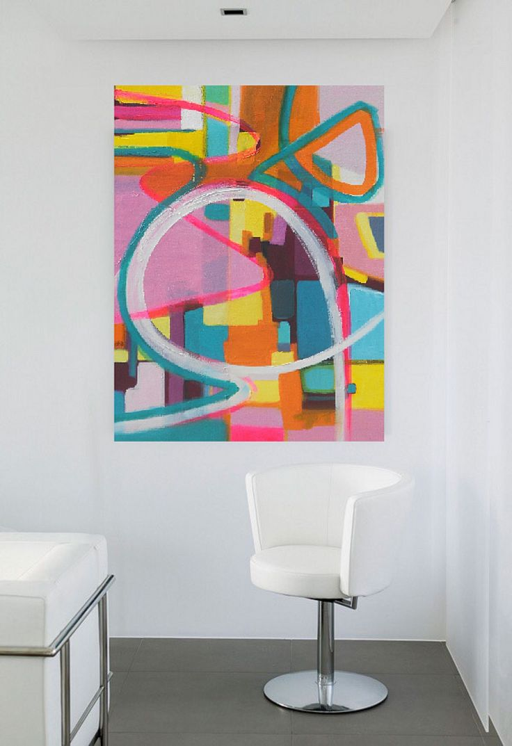 Bold colorful large Abstract art oil painting by Danielle Nelisse completes interior design accessories | large abstract artwork for bedroom or living room or dining room | acquire this oil painting on wrapped canvas at www.daniellenelisse.com | free shipping + 7 day return policy | standard interior designer discount